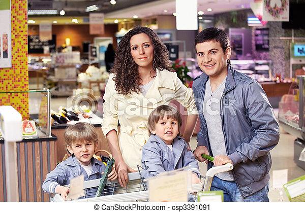 laden, porträt, familie - csp3391091