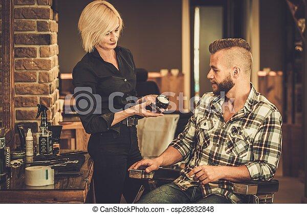 laden, produkt, haar, klient, herrenfriseur, wählen, sorgfalt - csp28832848