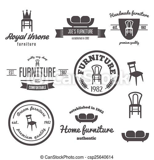 Ein Set von Vintage-Logo, Abzeichen, Emblem und Logo-Elementen für den Möbelladen - csp25640614