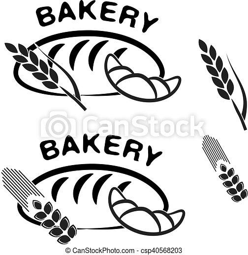laden, symbols., croissant, einfache , backstube, vektor, schwarz, spitze, ikone, grain., bread