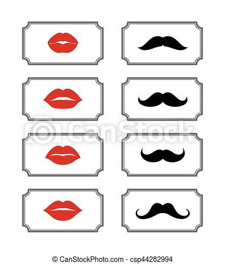 Ladies and gentlemen bathroom symbols. vector lips mustache.... eps ...