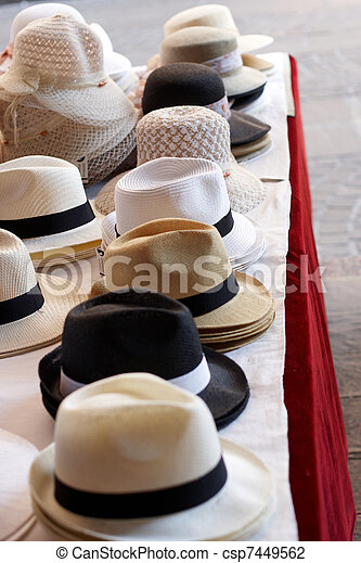 8fcd730de77f1 Ladies and gents hats on a table. Ladies and gents hats on an ...