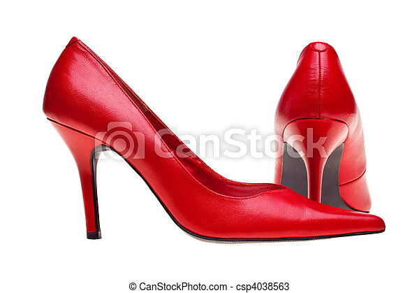 Ladies red high heels shoes isolated - csp4038563