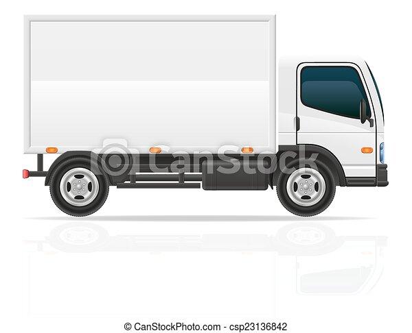 lading, vervoer, illustratie, vector, vrachtwagen, kleine - csp23136842