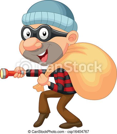 ladrão, caricatura, dinheiro, saco - csp16404767