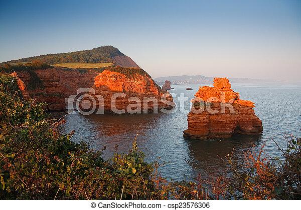 Ladram Bay in Devon, UK. - csp23576306
