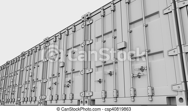 Ladung, übertragung, sketchy, containers., linie, 3d. Ladung ...