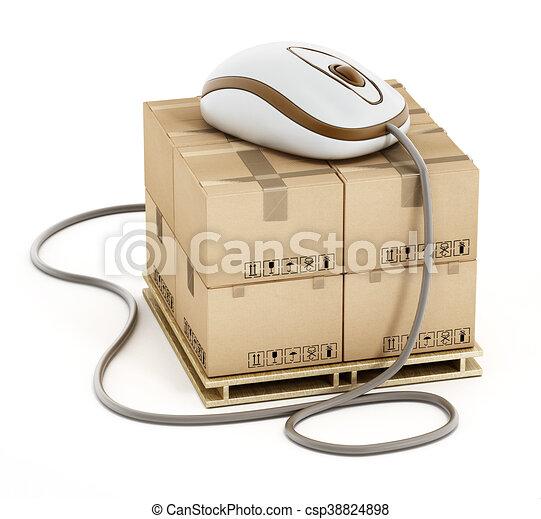 Ladung, kabel, boxes., abbildung, verbunden, maus, 3d.... Stock ...