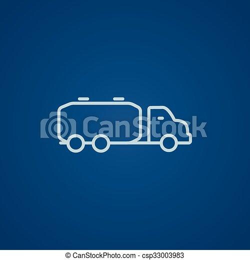 Ladung, linie, lastwagen, icon., flüssiglkeit. Blaues, ladung ...