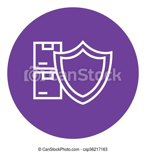 Ladung, linie, versicherung, icon. Pakete, schutzschirm, ränder ...