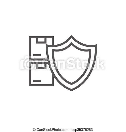 Ladung, linie, versicherung, icon. Pakete, schutzschirm,... Vektor ...