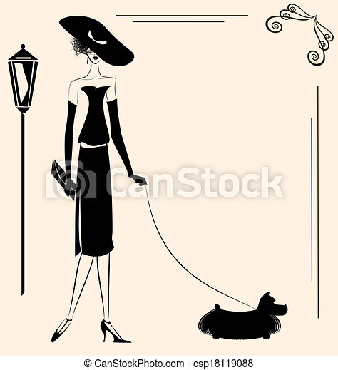 lady and dog - csp18119088