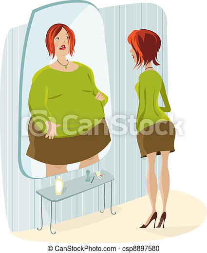Lady and her fat reflection - csp8897580