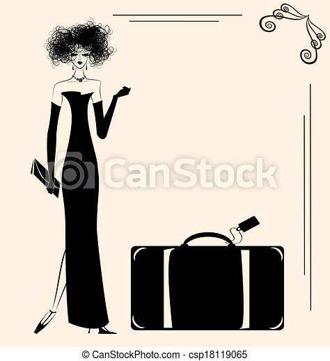 lady and suitcase - csp18119065