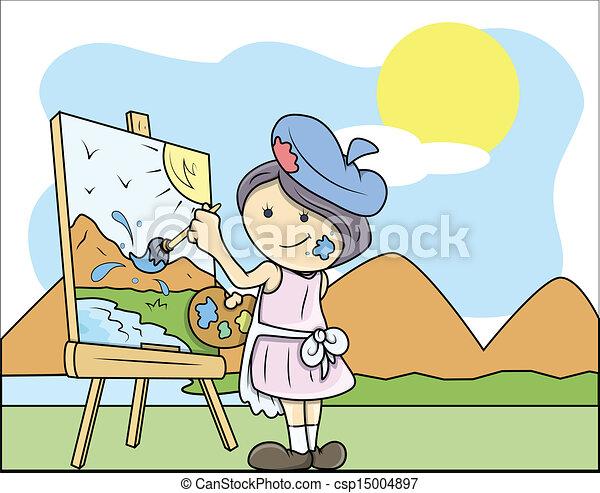 Lady Artist Painting Landscape - csp15004897