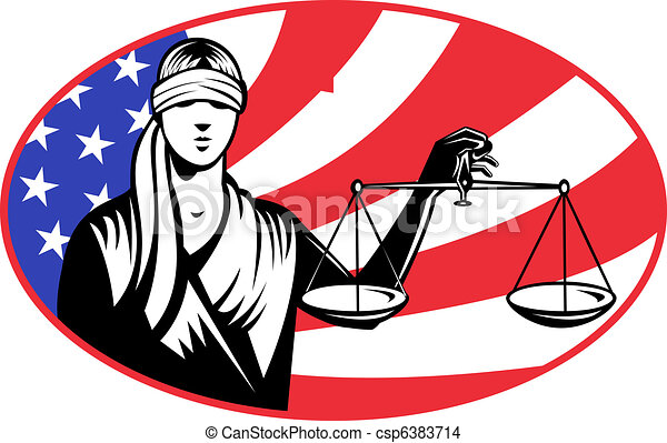 lady blindfold scales of justice american stars and stripes flag in background set inside ellipse. - csp6383714