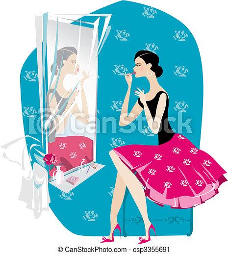 Lady doing make up - csp3355691