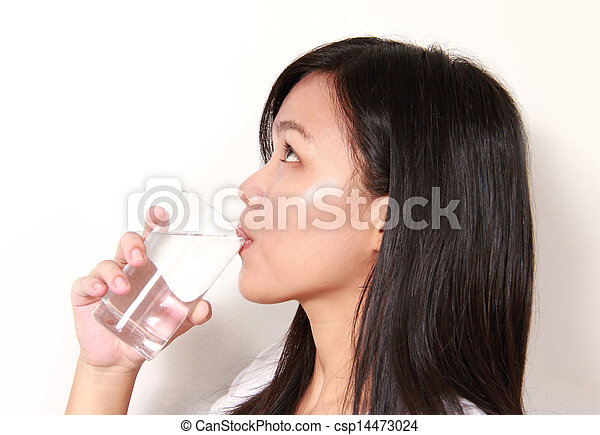 lady drinking a glass of water - csp14473024