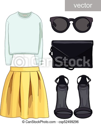 84bc9bb9fea34 Lady fashion set of autumn, winter season outfit. illustration stylish and trendy  clothing. bomber jacket, skirt, bag, necklace, accessories, sunglasses, ...
