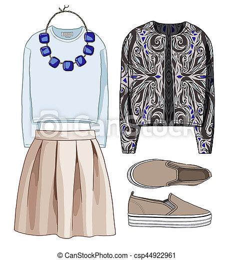 Lady Fashion Set Of Autumn Winter Season Outfit Illustration Stylish And Trendy Clothing