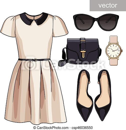 Lady fashion set of spring, summer season outfit ...