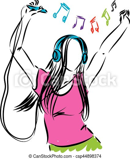 lady girl listening music illustration rh canstockphoto com man listening to music clipart boy listening to music clipart