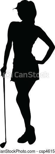 lady golfer vector silhouettes - csp4615041