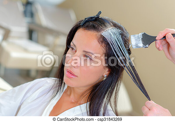 Lady having hair dyed - csp31843269