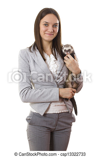 Lady holding a ferret - csp13322733