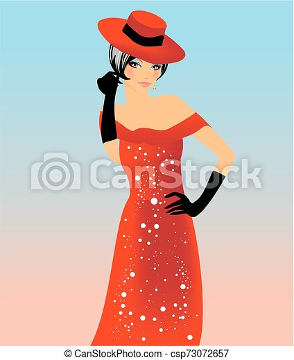 Lady in a hat - csp73072657