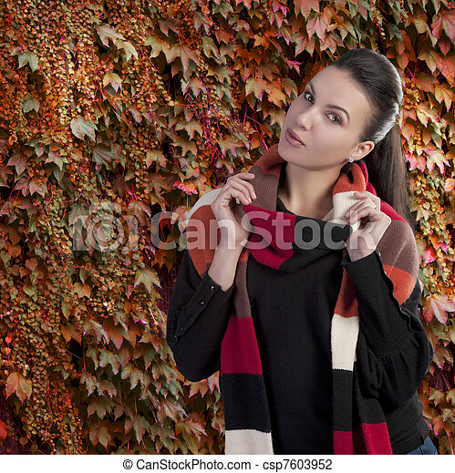 lady in autumn sweater - csp7603952