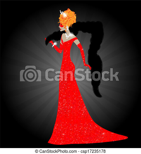 lady in red dress - csp17235178