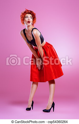 c255402913 Lady in red skirt. Beautiful emotional young woman wearing skirt and ...