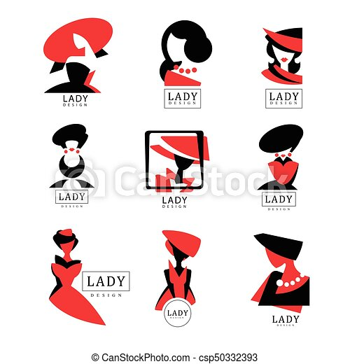 Lady Logo Design Set Vector Illustrations For Fashion Boutique Womens Clothing Store Shop Beauty Salon Cosmetic