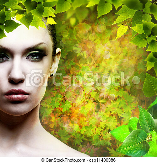 Lady Nature. Abstact natural backgrounds with beauty female portrait - csp11400386