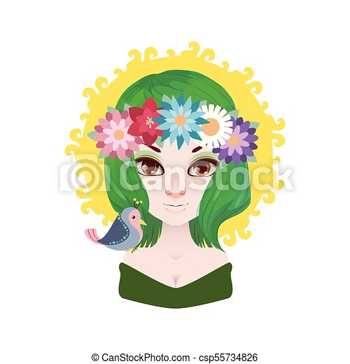 Lady of the spring illustration - csp55734826