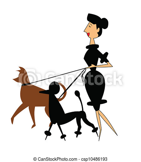 lady walking her dogs - csp10486193