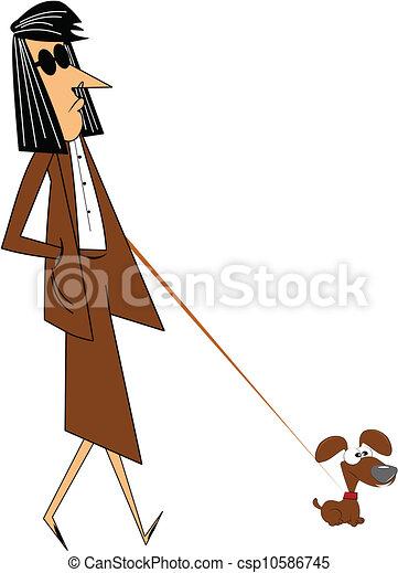 lady walking very small dog - csp10586745
