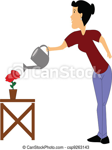 lady watering her roses - csp9263143