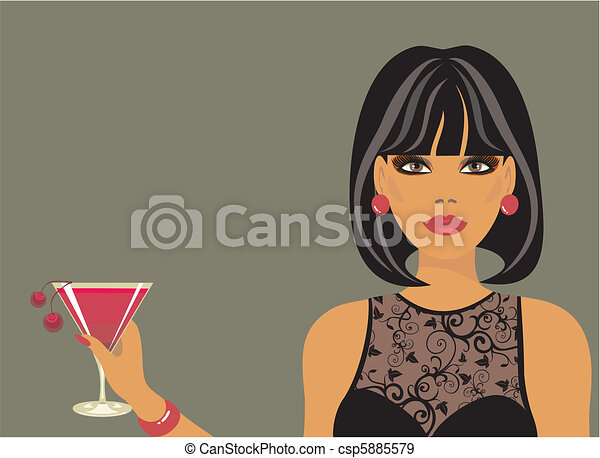 Lady with a cocktail in hand - csp5885579