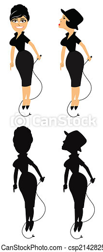lady with a whip in 2 styles - csp21428259