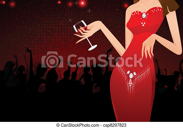 Lady with Wine Glass - csp8297823
