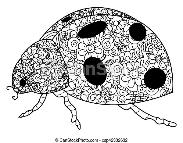 Ladybird Coloring Vector For Adults Coccinellidae