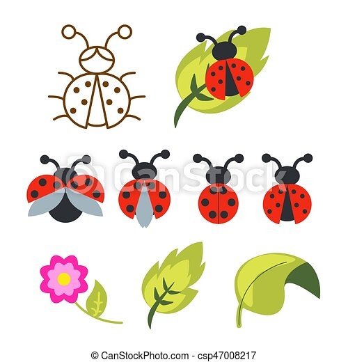 ladybug clipart set with green leaves and outline bug. ladybug clipart set  with green leaves and outline bug with wings.   canstock  can stock photo
