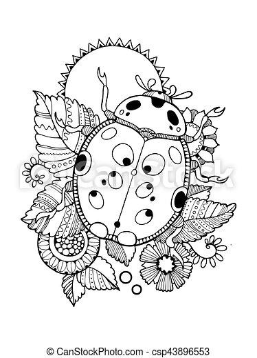 Ladybug coloring book vector illustration. anti-stress coloring book ...