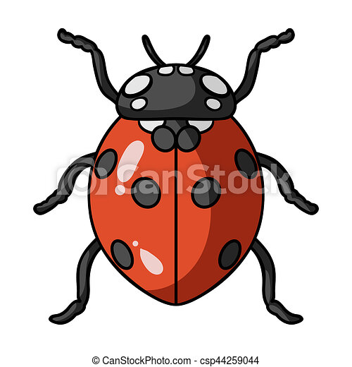 Ladybug Icon In Cartoon Style Isolated On White Background. Insects Symbol  Stock Bitmap, Rastr