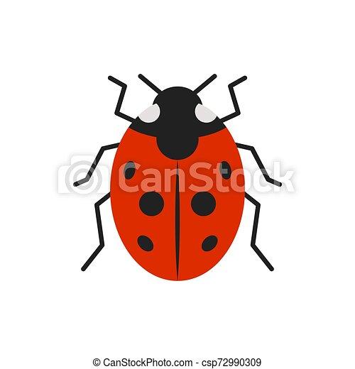 Ladybug ladybird bug single flat color vector icon - csp72990309