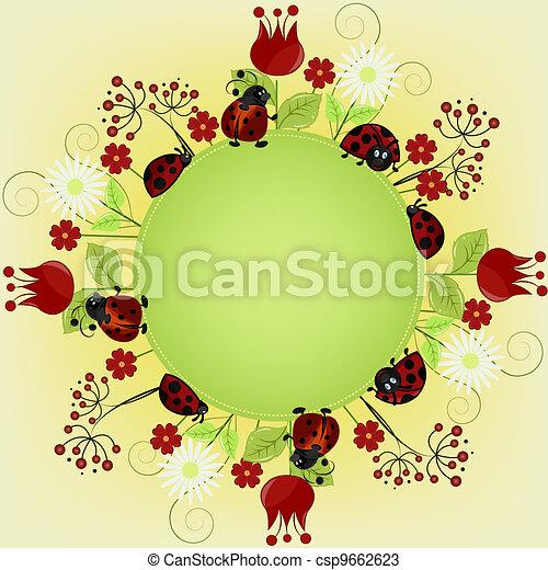 ladybugs, bloemen, kaart - csp9662623