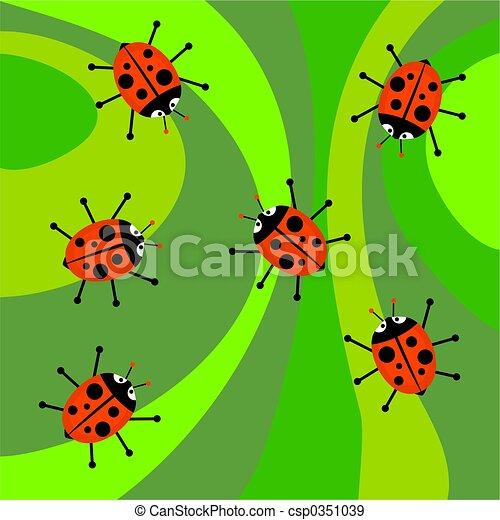 ladybugs, funky, retro - csp0351039