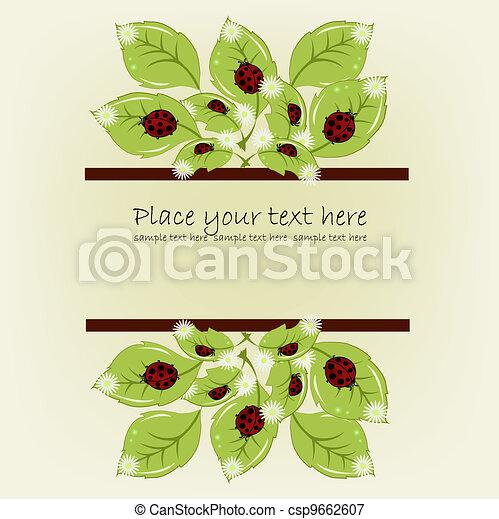 Ladybugs on leaflets with camomiles - csp9662607